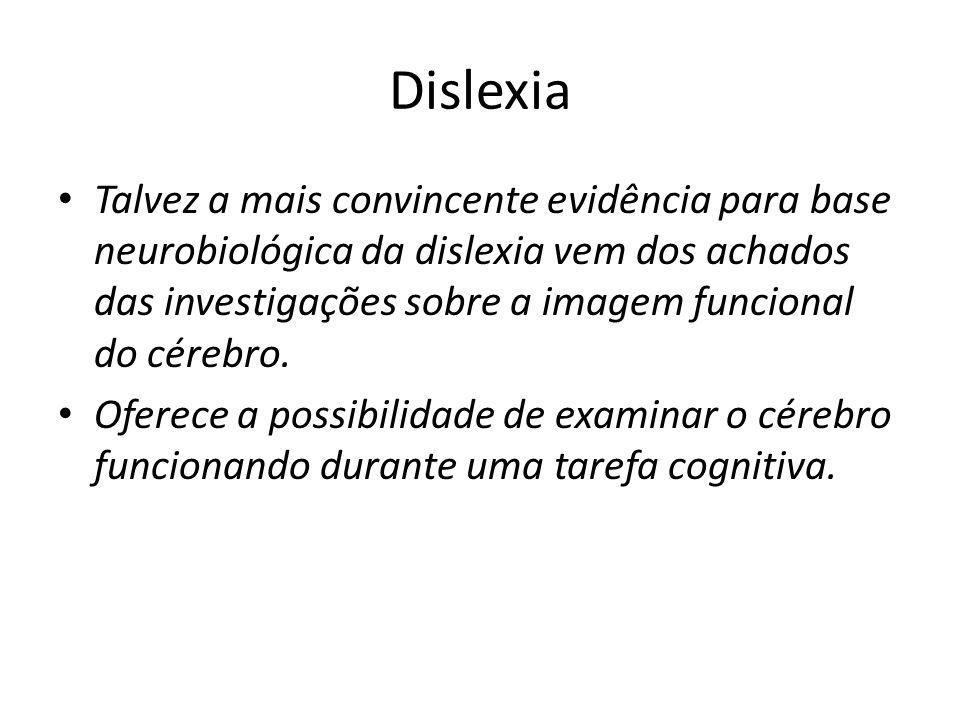 Dislexia Talvez a mais convincente evidência para base neurobiológica da dislexia vem dos achados das investigações sobre a imagem funcional do cérebr