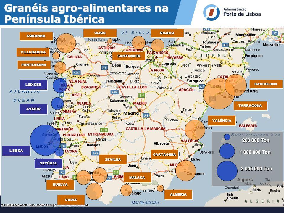 b)recepção e movimentação de granéis agro-alimentares; Áreas de Intervenção