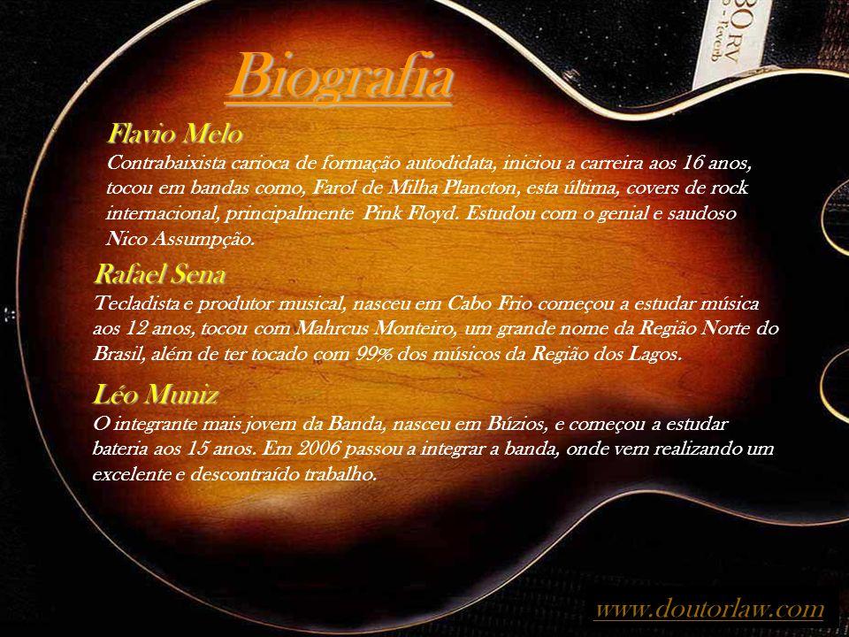Biografia Flavio Melo Contrabaixista carioca de formação autodidata, iniciou a carreira aos 16 anos, tocou em bandas como, Farol de Milha Plancton, esta última, covers de rock internacional, principalmente Pink Floyd.