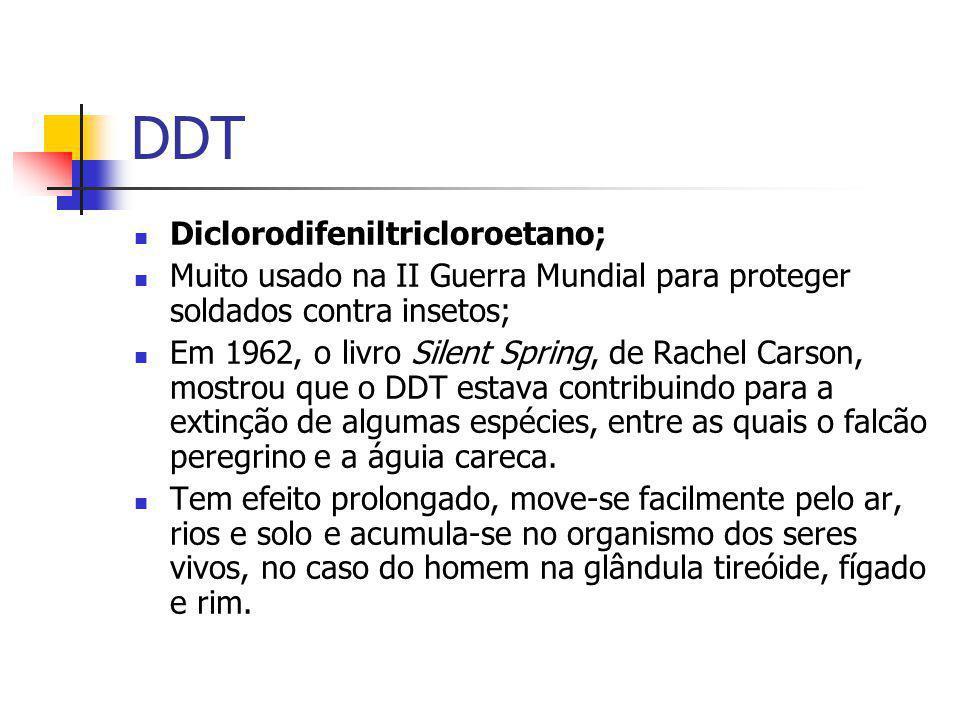 DDT Diclorodifeniltricloroetano; Muito usado na II Guerra Mundial para proteger soldados contra insetos; Em 1962, o livro Silent Spring, de Rachel Car