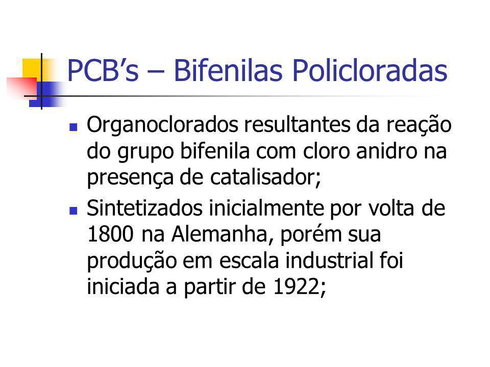 PCB's – Bifenilas Policloradas Organoclorados resultantes da reação do grupo bifenila com cloro anidro na presença de catalisador; Sintetizados inicia