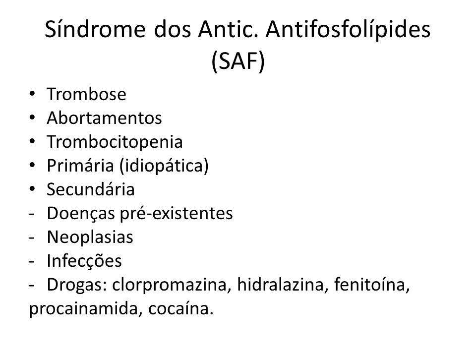 Síndrome dos Antic. Antifosfolípides (SAF) Trombose Abortamentos Trombocitopenia Primária (idiopática) Secundária -Doenças pré-existentes -Neoplasias