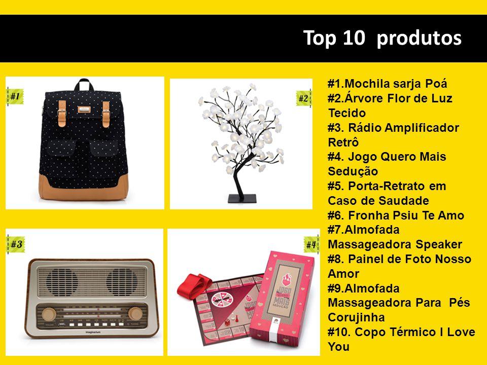 Top 10 produtos #1.Mochila sarja Poá #2.Árvore Flor de Luz Tecido #3. Rádio Amplificador Retrô #4. Jogo Quero Mais Sedução #5. Porta-Retrato em Caso d
