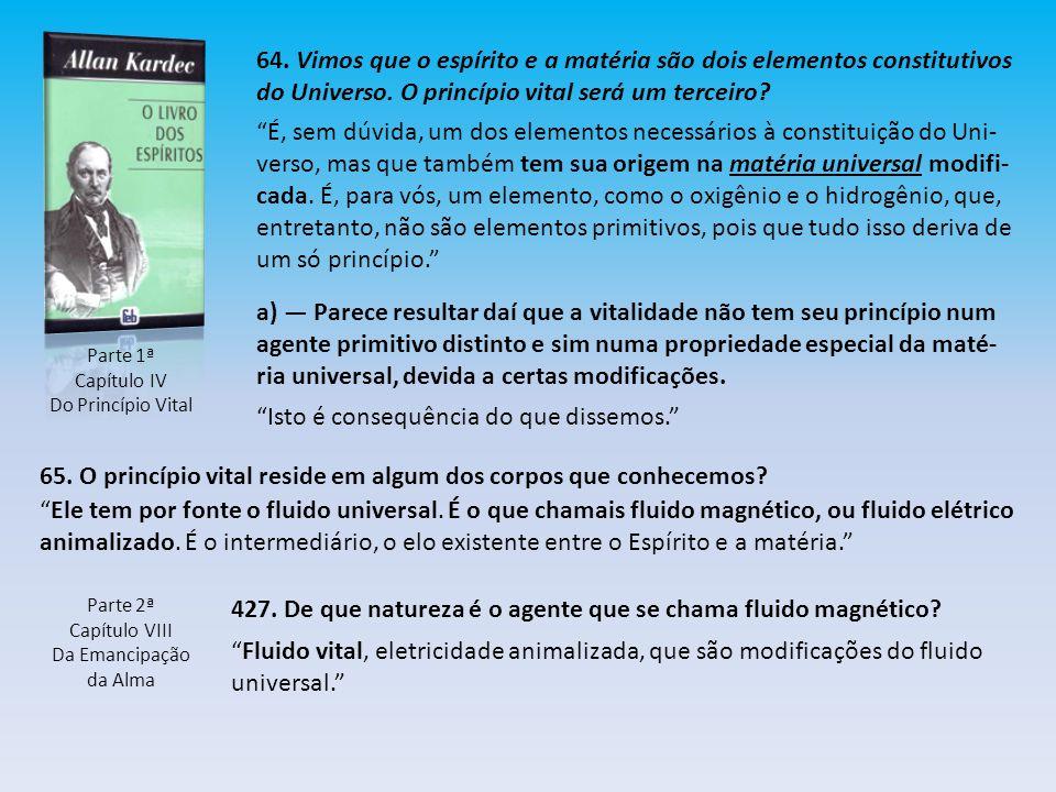 Parte 1ª Capítulo IV Do Princípio Vital 64. Vimos que o espírito e a matéria são dois elementos constitutivos do Universo. O princípio vital será um t