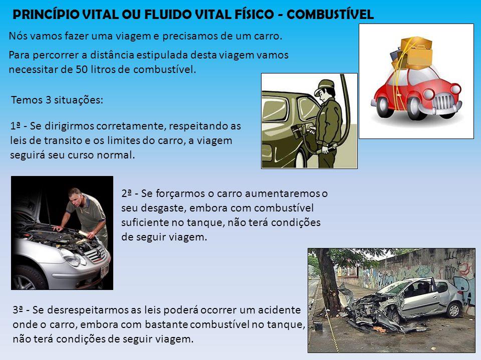 PRINCÍPIO VITAL OU FLUIDO VITAL FÍSICO - COMBUSTÍVEL Podemos comparar o corpo com o carro e o princípio vital com o combustível.