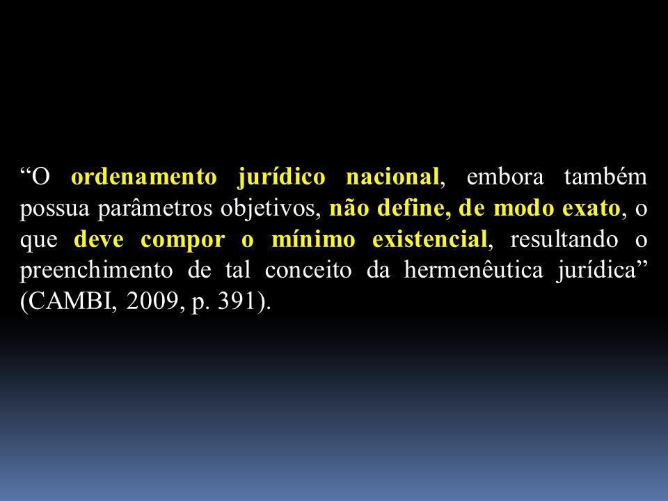 """""""O ordenamento jurídico nacional, embora também possua parâmetros objetivos, não define, de modo exato, o que deve compor o mínimo existencial, result"""