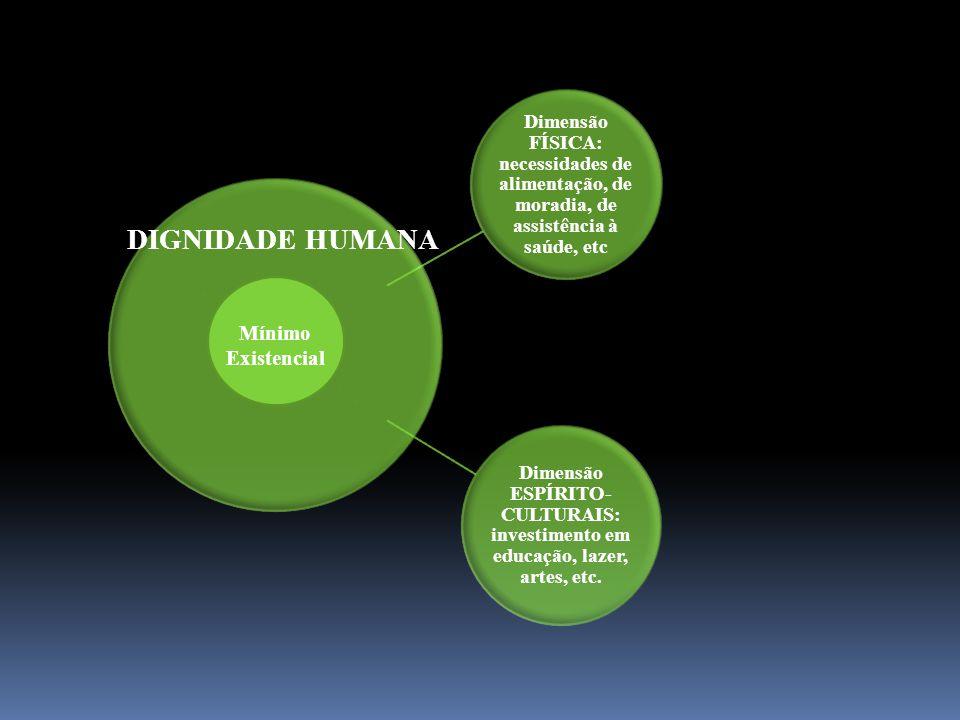 Dimensão FÍSICA: necessidades de alimentação, de moradia, de assistência à saúde, etc Dimensão ESPÍRITO- CULTURAIS: investimento em educação, lazer, a