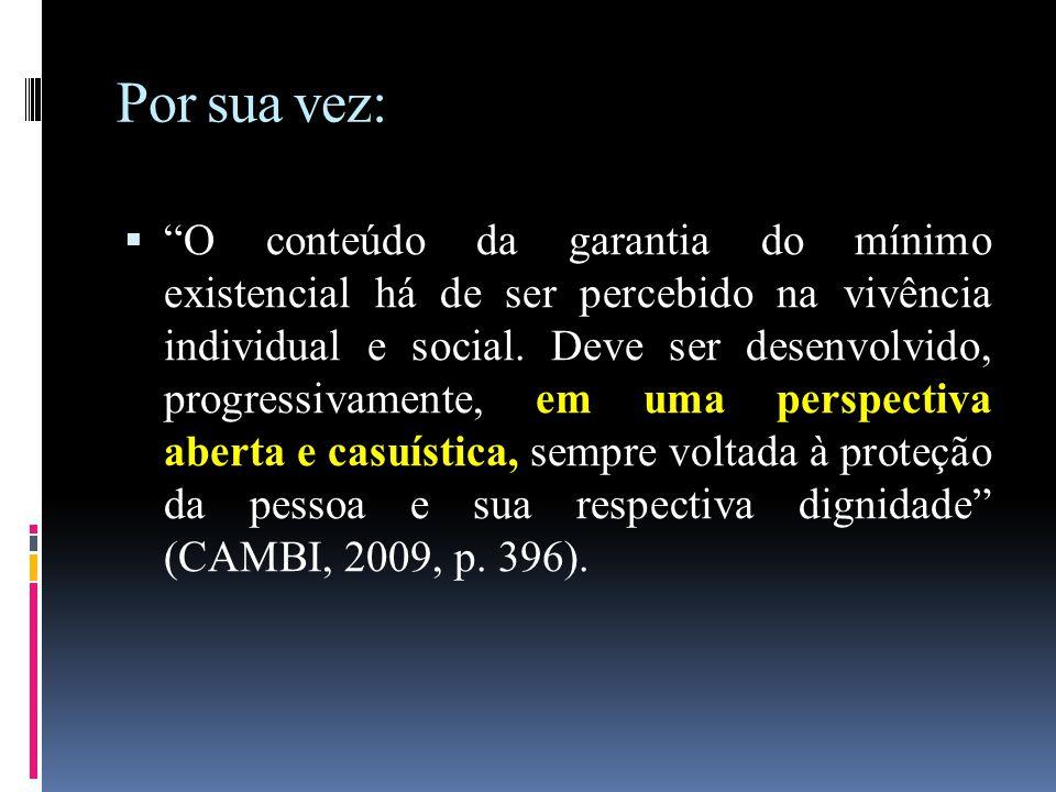 """Por sua vez:  """"O conteúdo da garantia do mínimo existencial há de ser percebido na vivência individual e social. Deve ser desenvolvido, progressivame"""