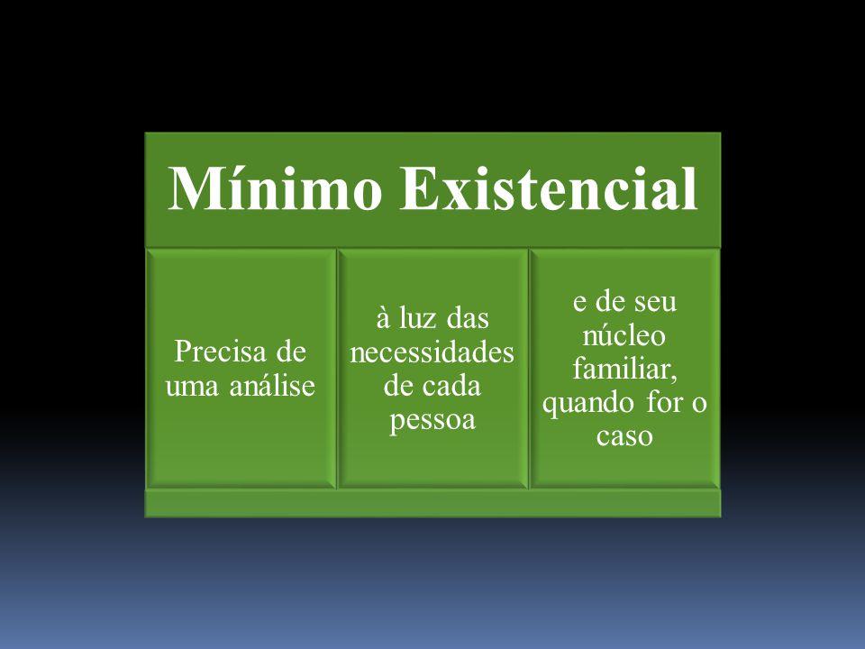 Mínimo Existencial Precisa de uma análise à luz das necessidades de cada pessoa e de seu núcleo familiar, quando for o caso