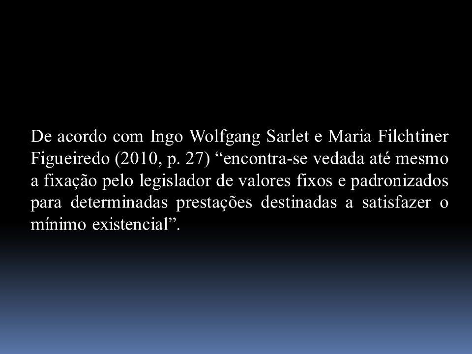 """De acordo com Ingo Wolfgang Sarlet e Maria Filchtiner Figueiredo (2010, p. 27) """"encontra-se vedada até mesmo a fixação pelo legislador de valores fixo"""
