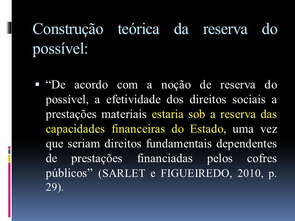 """Construção teórica da reserva do possível:  """"De acordo com a noção de reserva do possível, a efetividade dos direitos sociais a prestações materiais"""