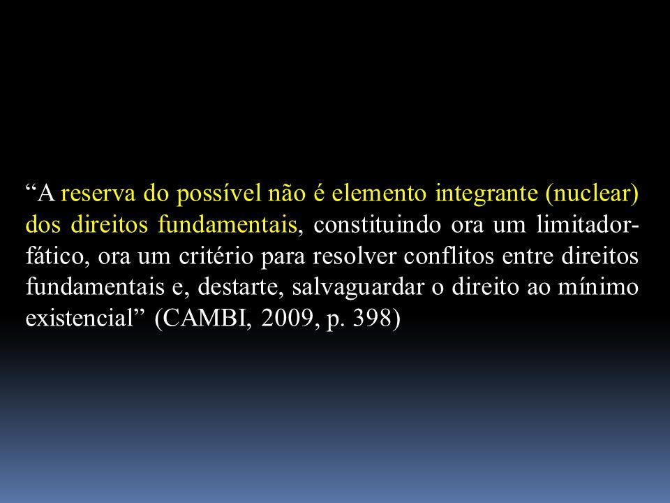 """""""A reserva do possível não é elemento integrante (nuclear) dos direitos fundamentais, constituindo ora um limitador- fático, ora um critério para reso"""