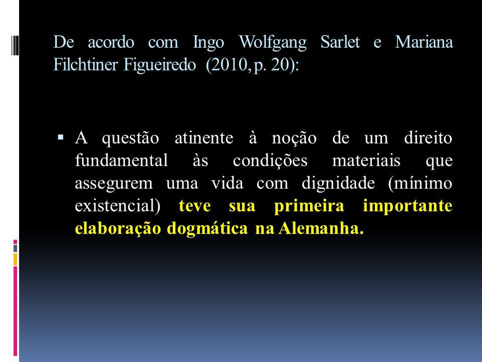 De acordo com Ingo Wolfgang Sarlet e Mariana Filchtiner Figueiredo (2010, p. 20):  A questão atinente à noção de um direito fundamental às condições