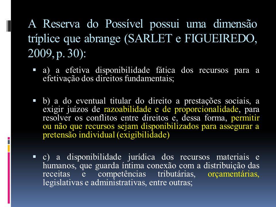 A Reserva do Possível possui uma dimensão tríplice que abrange (SARLET e FIGUEIREDO, 2009, p. 30):  a) a efetiva disponibilidade fática dos recursos