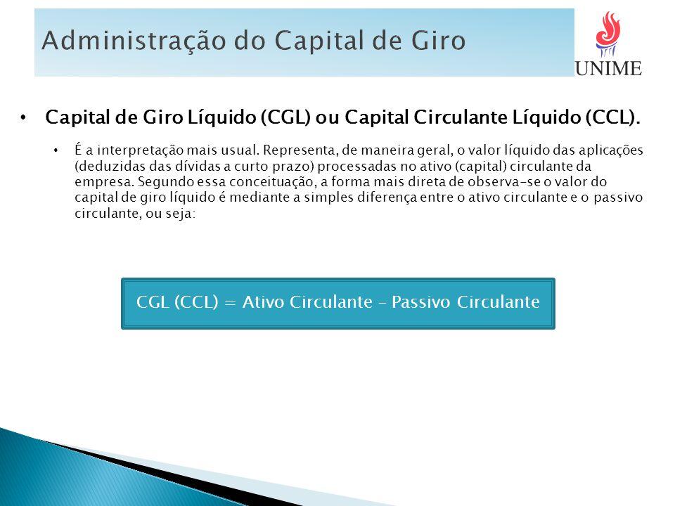 Capital de Giro Líquido (CGL) ou Capital Circulante Líquido (CCL). É a interpretação mais usual. Representa, de maneira geral, o valor líquido das apl