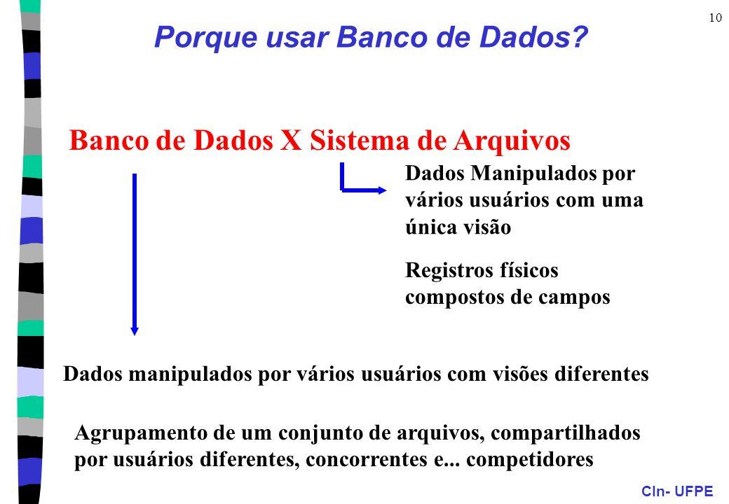 CIn- UFPE 10 Porque usar Banco de Dados? Banco de Dados X Sistema de Arquivos Dados Manipulados por vários usuários com uma única visão Registros físi