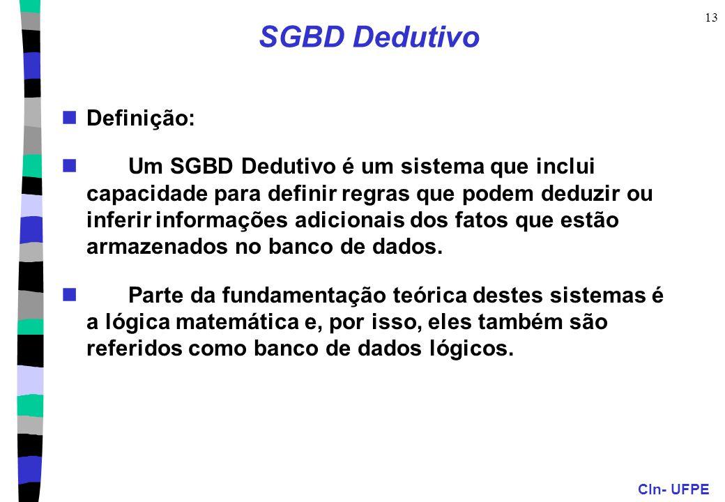 CIn- UFPE 13 SGBD Dedutivo Definição: Um SGBD Dedutivo é um sistema que inclui capacidade para definir regras que podem deduzir ou inferir informações