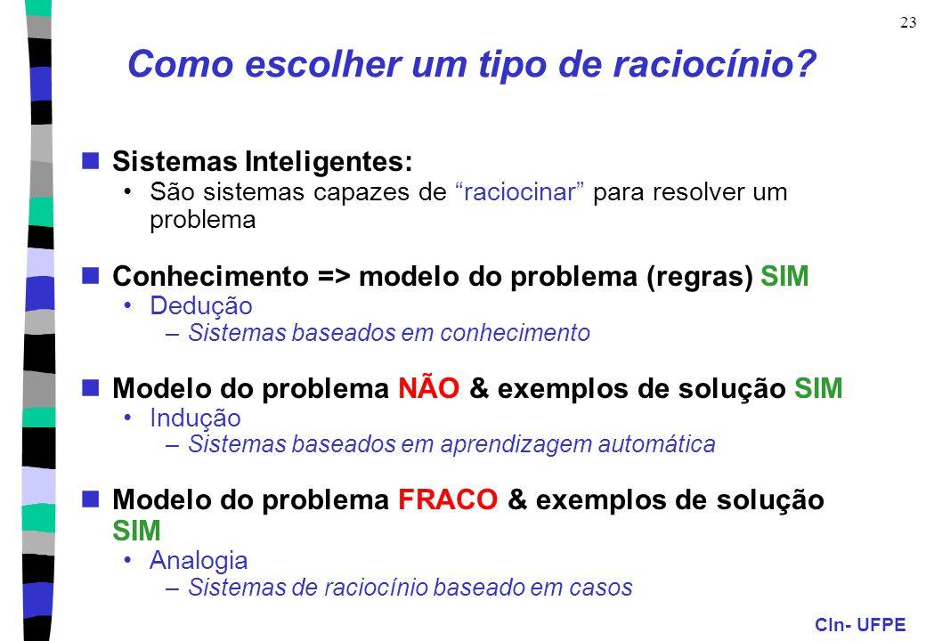 """CIn- UFPE 23 Como escolher um tipo de raciocínio? Sistemas Inteligentes: São sistemas capazes de """"raciocinar"""" para resolver um problema Conhecimento ="""