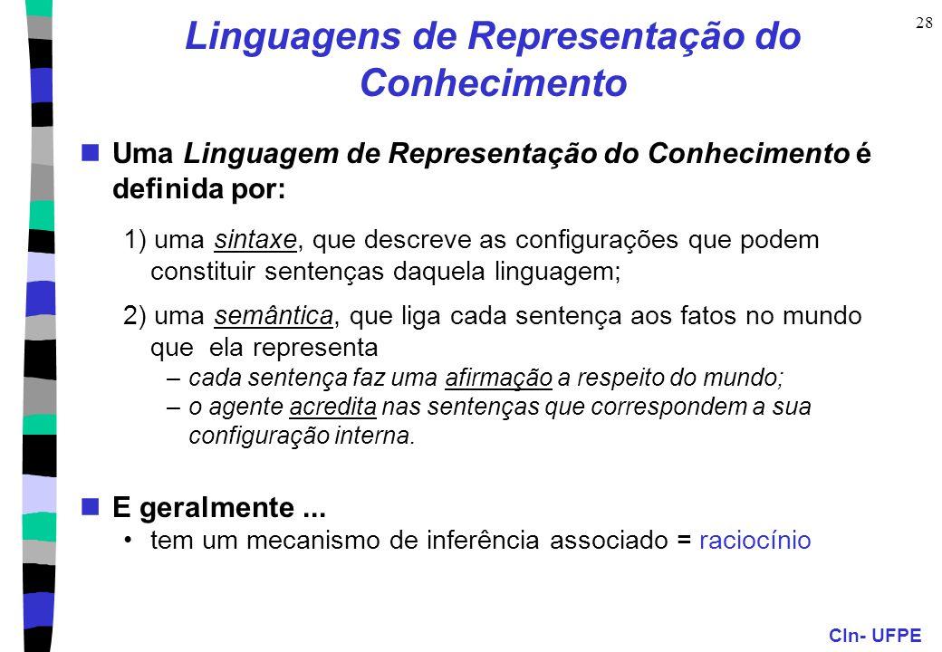 CIn- UFPE 28 Linguagens de Representação do Conhecimento Uma Linguagem de Representação do Conhecimento é definida por: 1) uma sintaxe, que descreve a
