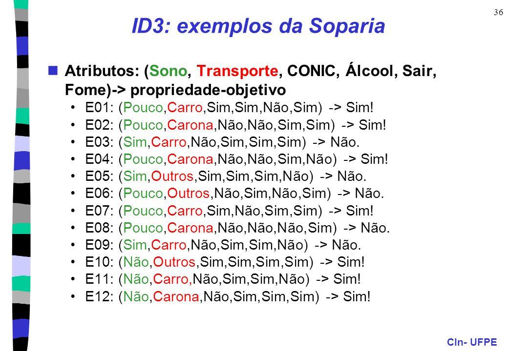 CIn- UFPE 36 ID3: exemplos da Soparia Atributos: (Sono, Transporte, CONIC, Álcool, Sair, Fome)-> propriedade-objetivo E01: (Pouco,Carro,Sim,Sim,Não,Si