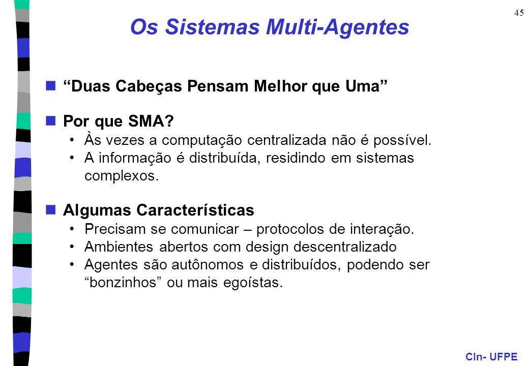 """CIn- UFPE 45 Os Sistemas Multi-Agentes """"Duas Cabeças Pensam Melhor que Uma"""" Por que SMA? Às vezes a computação centralizada não é possível. A informaç"""