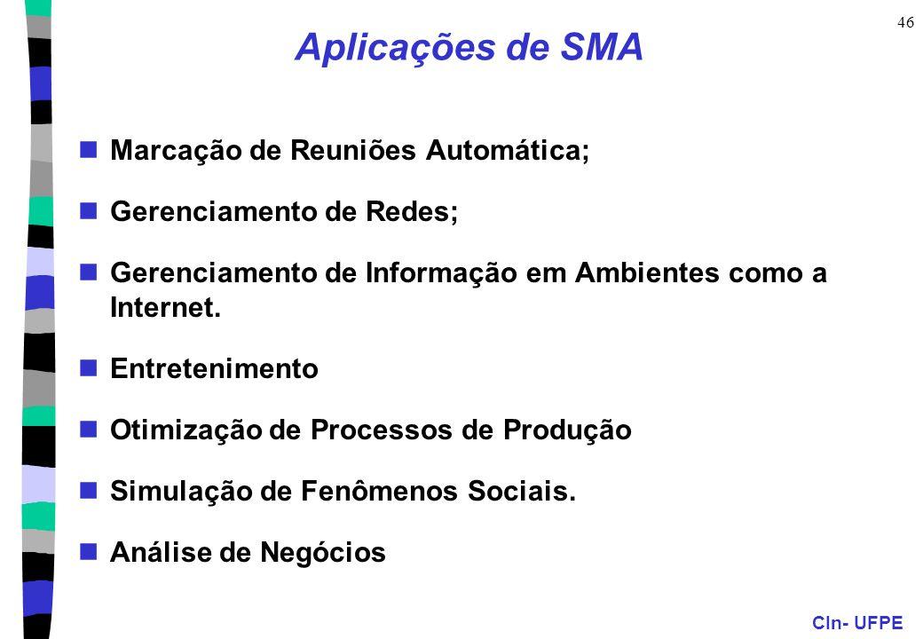 CIn- UFPE 46 Aplicações de SMA Marcação de Reuniões Automática; Gerenciamento de Redes; Gerenciamento de Informação em Ambientes como a Internet. Entr