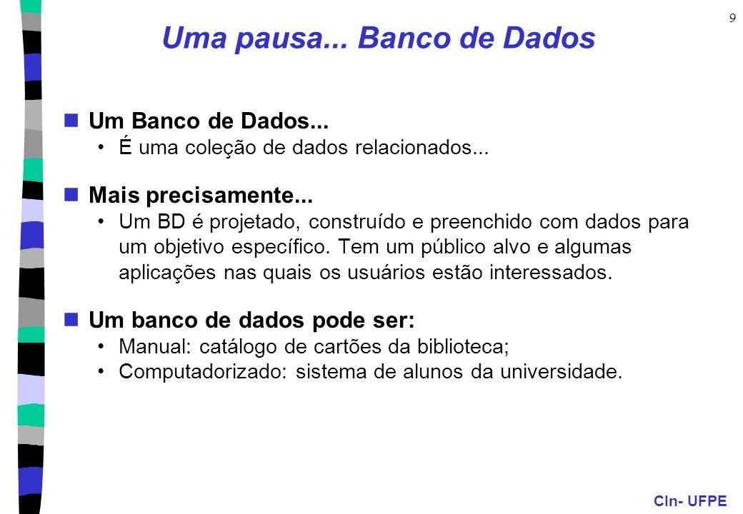 CIn- UFPE 10 Porque usar Banco de Dados.