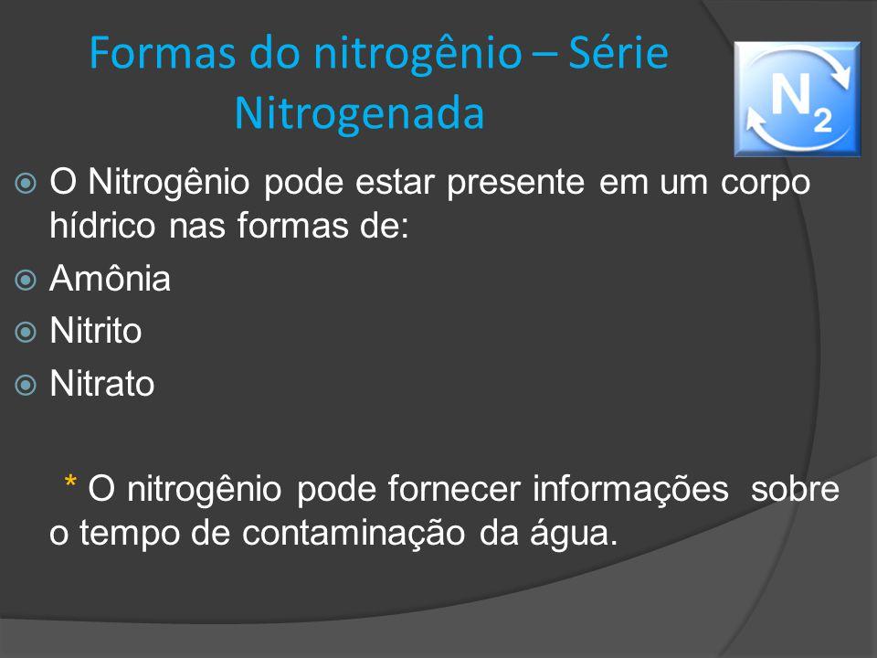Formas do nitrogênio – Série Nitrogenada  O Nitrogênio pode estar presente em um corpo hídrico nas formas de:  Amônia  Nitrito  Nitrato * O nitrog