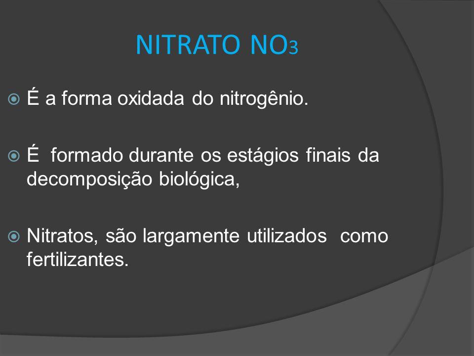 NITRATO NO 3  É a forma oxidada do nitrogênio.  É formado durante os estágios finais da decomposição biológica,  Nitratos, são largamente utilizado