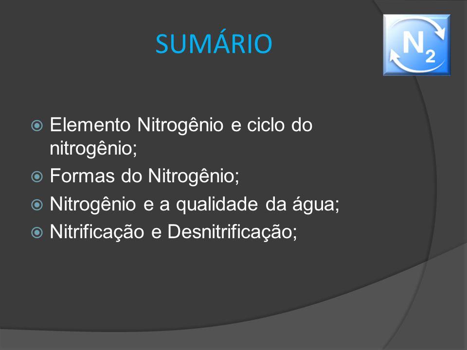 SUMÁRIO  Elemento Nitrogênio e ciclo do nitrogênio;  Formas do Nitrogênio;  Nitrogênio e a qualidade da água;  Nitrificação e Desnitrificação;