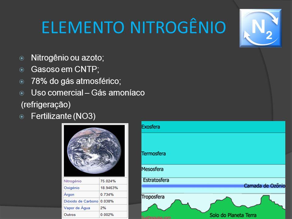 ELEMENTO NITROGÊNIO  Nitrogênio ou azoto;  Gasoso em CNTP;  78% do gás atmosférico;  Uso comercial – Gás amoníaco (refrigeração)  Fertilizante (N