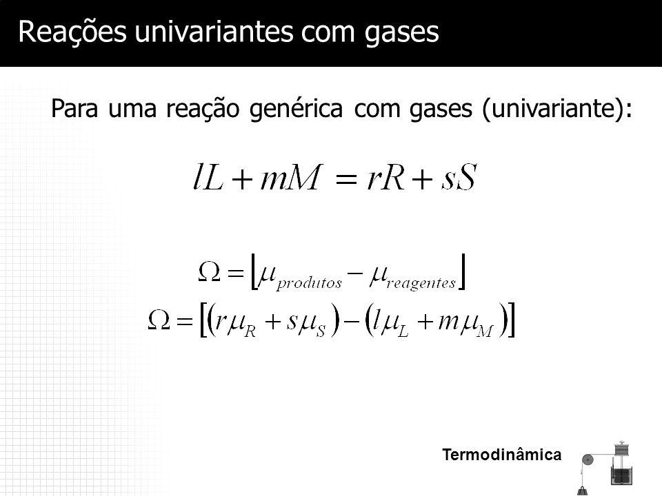 Termodinâmica Reações univariantes com gases Para uma reação genérica com gases (univariante):