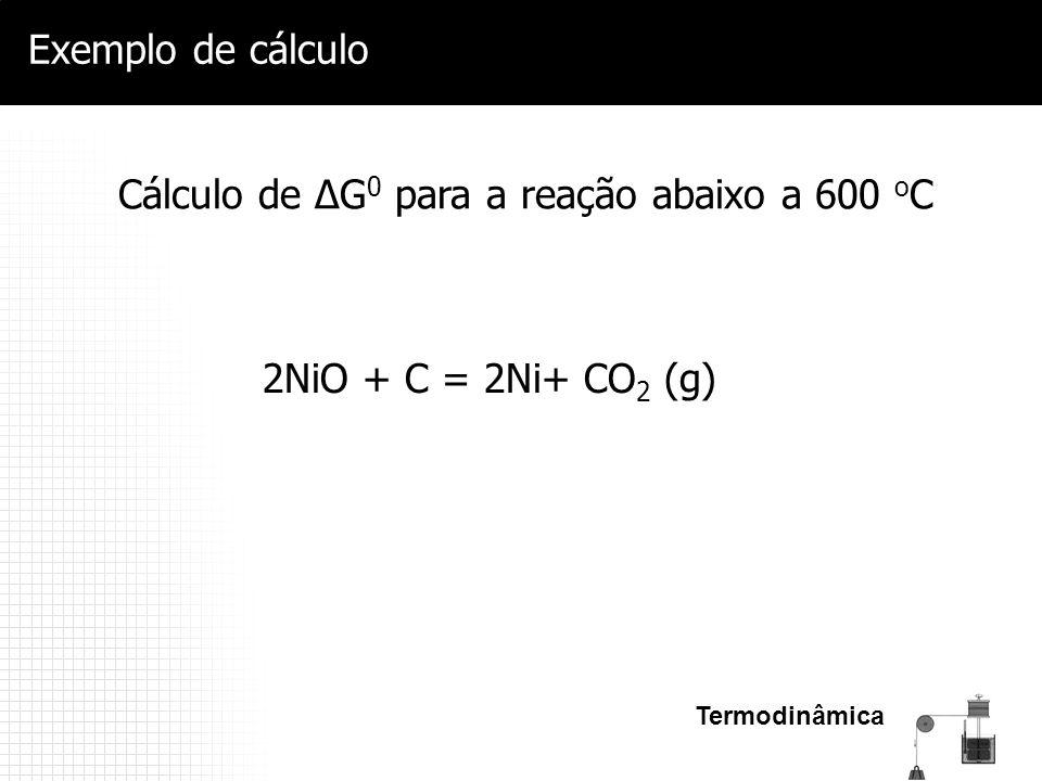 Termodinâmica Exemplo de cálculo Cálculo de ΔG 0 para a reação abaixo a 600 o C 2NiO + C = 2Ni+ CO 2 (g)