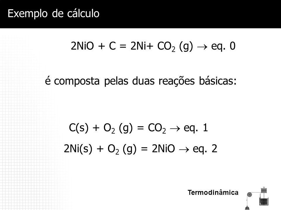 Termodinâmica Exemplo de cálculo 2NiO + C = 2Ni+ CO 2 (g)  eq. 0 C(s) + O 2 (g) = CO 2  eq. 1 2Ni(s) + O 2 (g) = 2NiO  eq. 2 é composta pelas duas