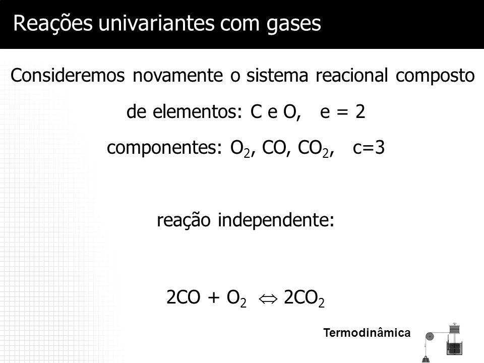 Termodinâmica Reações univariantes com gases 2CO + O 2  2CO 2 Consideremos novamente o sistema reacional composto de elementos: C e O, e = 2 componen
