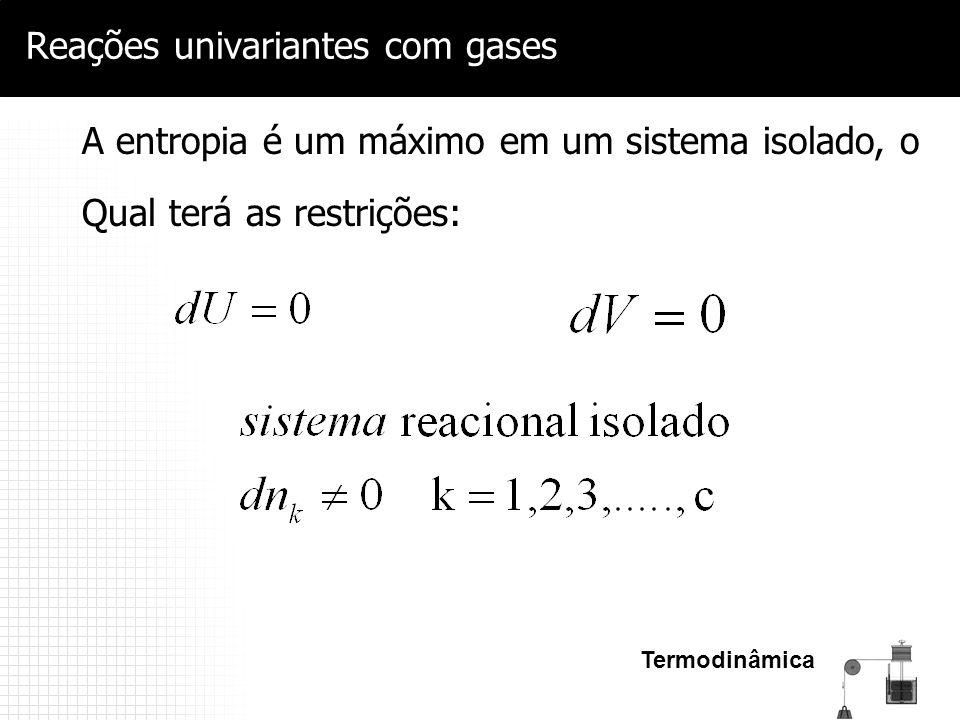 Termodinâmica Reações univariantes com gases A entropia é um máximo em um sistema isolado, o Qual terá as restrições:
