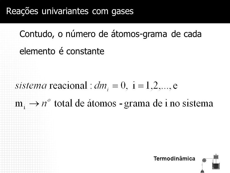 Termodinâmica Reações univariantes com gases Contudo, o número de átomos-grama de cada elemento é constante