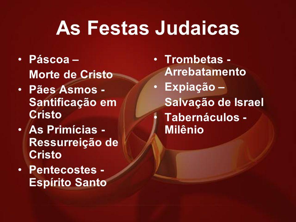 As Festas Judaicas Páscoa – Morte de Cristo Pães Asmos - Santificação em Cristo As Primícias - Ressurreição de Cristo Pentecostes - Espírito Santo Tro