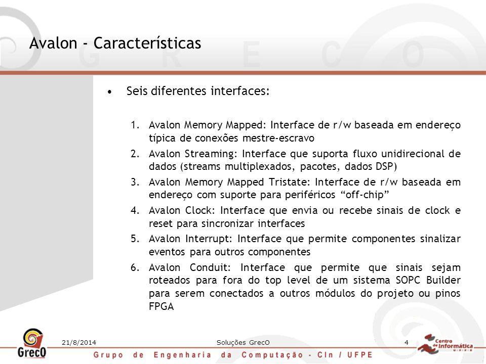 21/8/2014Soluções GrecO4 Avalon - Características Seis diferentes interfaces: 1.Avalon Memory Mapped: Interface de r/w baseada em endereço típica de c