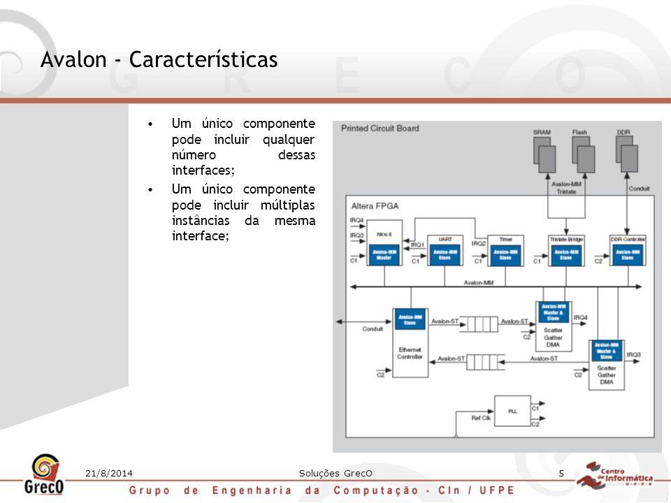 21/8/2014Soluções GrecO5 Avalon - Características Um único componente pode incluir qualquer número dessas interfaces; Um único componente pode incluir