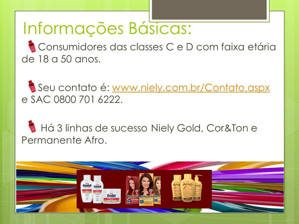 Informações Básicas: Consumidores das classes C e D com faixa etária de 18 a 50 anos. Seu contato é: www.niely.com.br/Contato.aspx e SAC 0800 701 6222