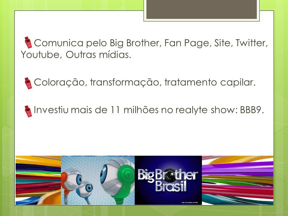 Comunica pelo Big Brother, Fan Page, Site, Twitter, Youtube, Outras mídias. Coloração, transformação, tratamento capilar. Investiu mais de 11 milhões