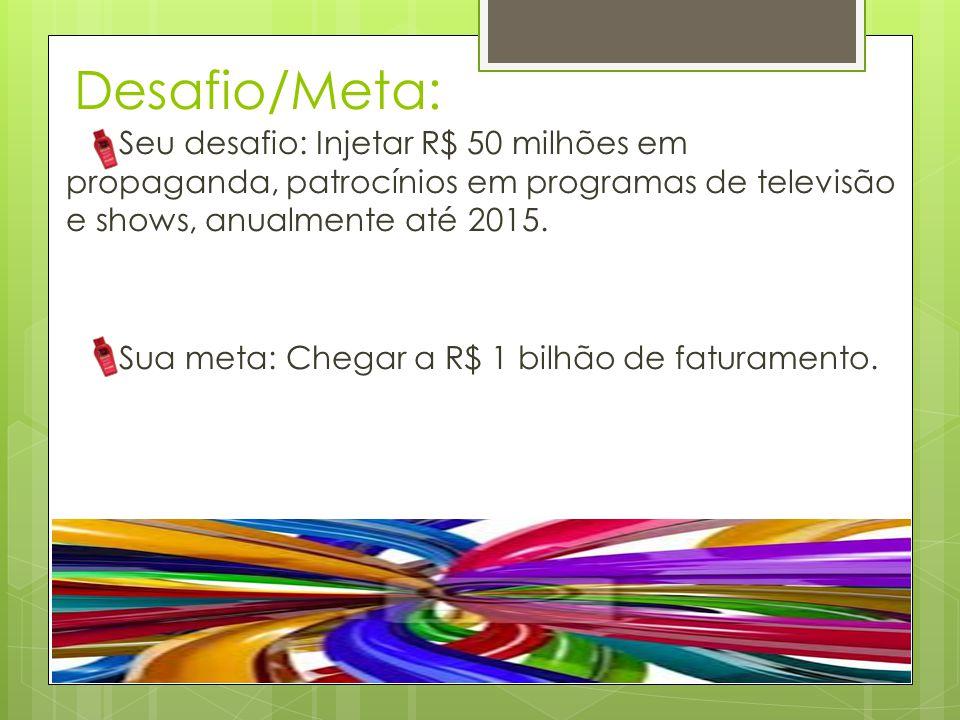 Desafio/Meta: Seu desafio: Injetar R$ 50 milhões em propaganda, patrocínios em programas de televisão e shows, anualmente até 2015. Sua meta: Chegar a