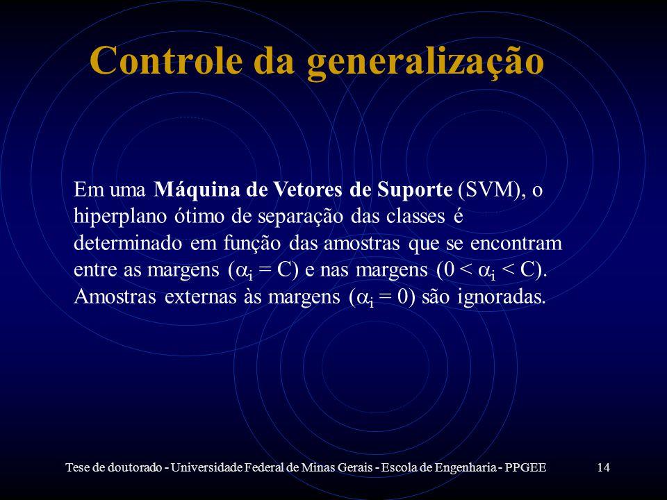 Tese de doutorado - Universidade Federal de Minas Gerais - Escola de Engenharia - PPGEE14 Controle da generalização Em uma Máquina de Vetores de Supor
