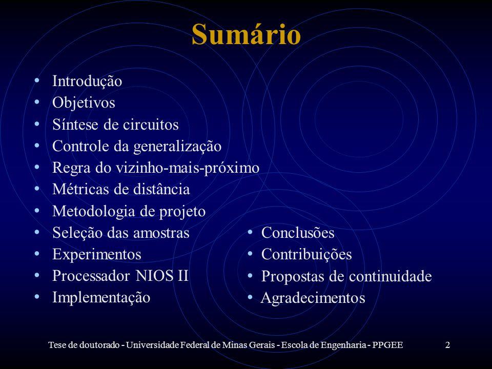 Tese de doutorado - Universidade Federal de Minas Gerais - Escola de Engenharia - PPGEE2 Sumário Introdução Objetivos Síntese de circuitos Controle da