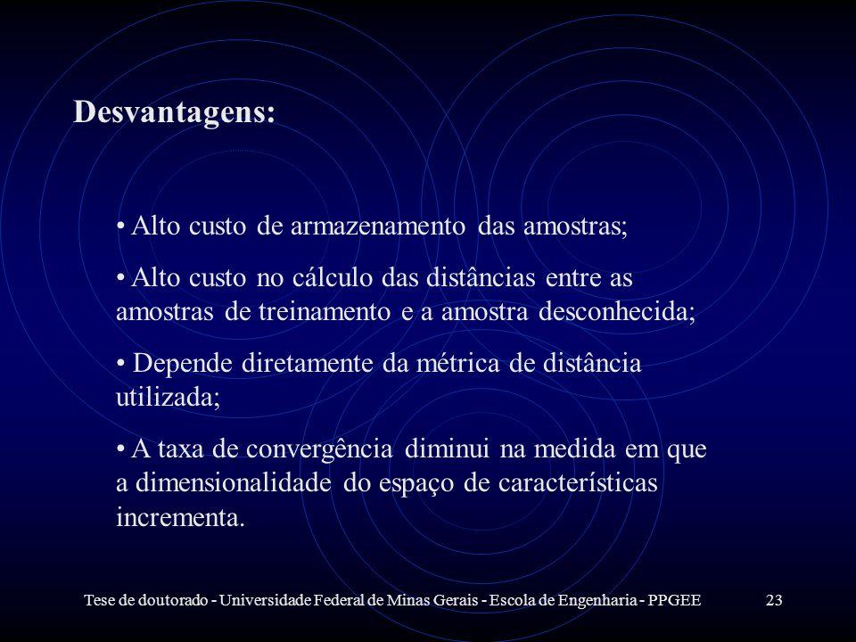 Tese de doutorado - Universidade Federal de Minas Gerais - Escola de Engenharia - PPGEE23 Desvantagens: Alto custo de armazenamento das amostras; Alto