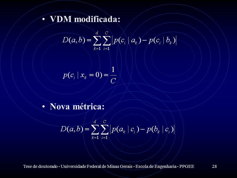 Tese de doutorado - Universidade Federal de Minas Gerais - Escola de Engenharia - PPGEE28 VDM modificada: Nova métrica: