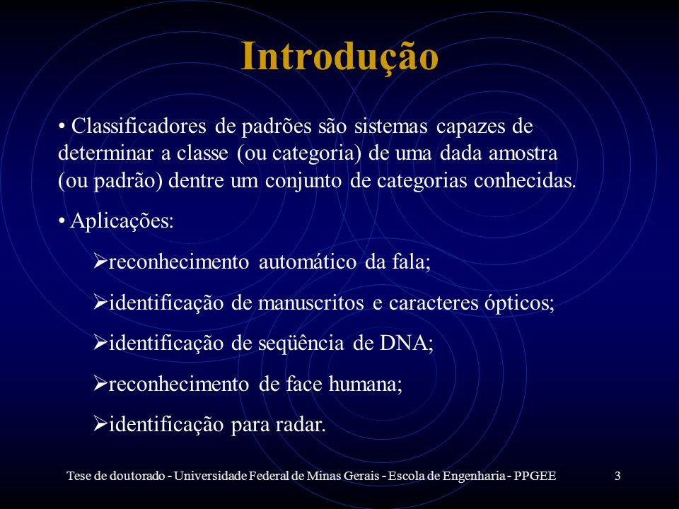 Tese de doutorado - Universidade Federal de Minas Gerais - Escola de Engenharia - PPGEE3 Introdução Classificadores de padrões são sistemas capazes de