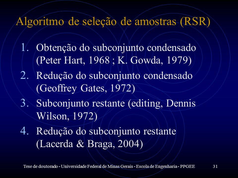 Tese de doutorado - Universidade Federal de Minas Gerais - Escola de Engenharia - PPGEE31 1. Obtenção do subconjunto condensado (Peter Hart, 1968 ; K.