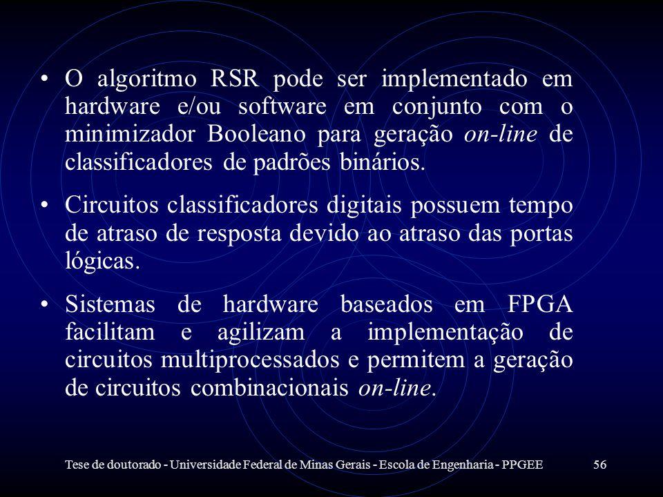Tese de doutorado - Universidade Federal de Minas Gerais - Escola de Engenharia - PPGEE56 O algoritmo RSR pode ser implementado em hardware e/ou softw